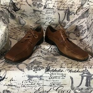 Stacy Adams Cognac Leather Lace Up Oxford Shoes 12